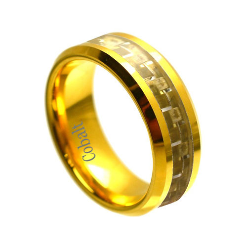 Cobalt Ring with Gold Carbon Fiber Inlay 8mm