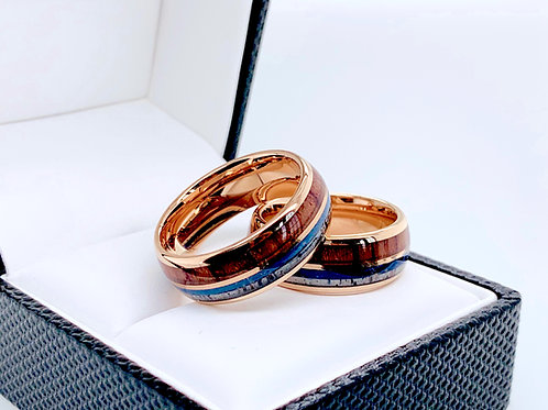 Blue Agate Antler & Wood Ring, Mens Wedding Bands, Women Ring Rose Gold Tungsten