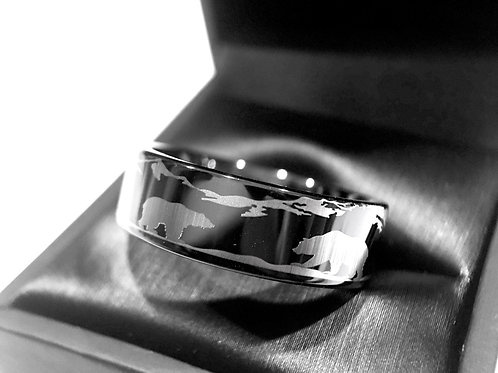 Nature Ring, Mountains Landscape Ring, Two Bears Ring, Black Tungsten Ring