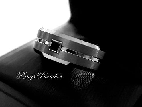 Mens Tungsten Ring with Square Black Diamond Stone Setting, Mens Wedding Ring