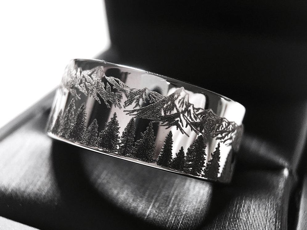 Mountains Range Engraved Tungsten Wedding Band Unique Men Wedding Band Fir Trees