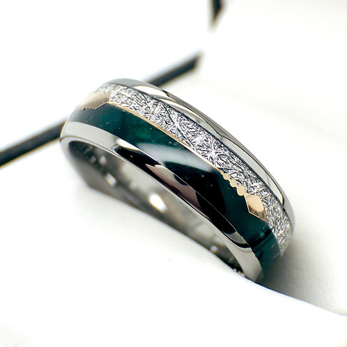Matching Rings Set, Couples Rings, Green Agate Meteorite Ring, Tungsten Ring 8mm