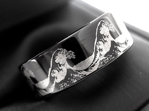 Ocean Wave Pattern Engraved Black Tungsten Carbide Ring, Mens Ring, Wedding Band
