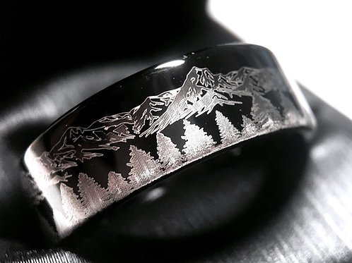 Fir Trees and Mountains Range Pattern Engraved Black Tungsten Ring, Wedding Band