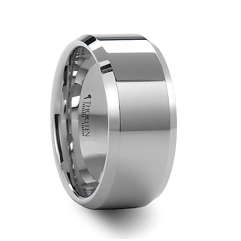 Beveled White Tungsten Engagement Ring- 10mm