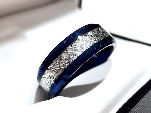 Meteorite Ring, Mens Wedding Ring, Tungsten Carbide Ring, Blue Wedding Bands, Mens Wedding Ring, Men Meteorite Ring , Rings