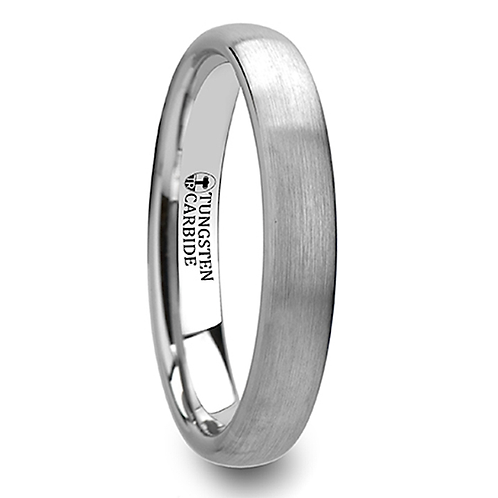 Round Brushed White Tungsten Ring - 4mm -8mm