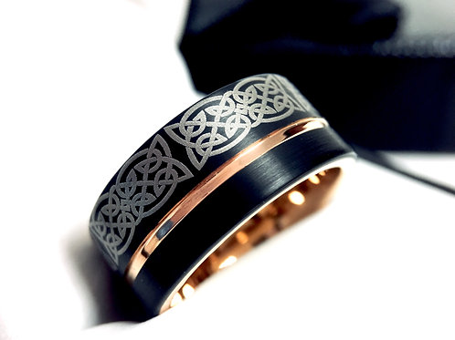 Celtic Ring, Mens Tungsten Ring, Black  Rose Gold Wedding Bands, Laser Engraving, Custom Engraved Ring, Celtic Jewelry  Bands
