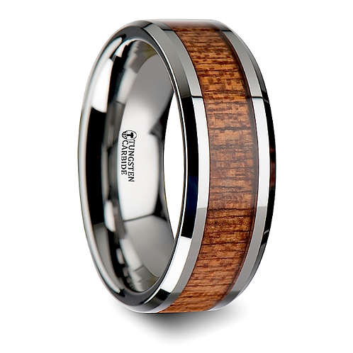 Tungsten Wedding Band, African Wood Inlay 6mm-8mm