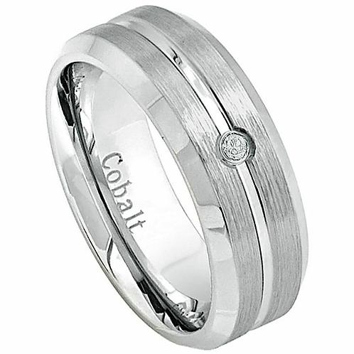 Cobalt Ring, Wedding Band with  White Diamond 8mm