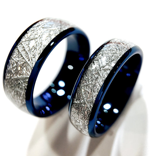 Blue Meteorite Inlay Tungsten Wedding Bands, Matching Rings Set