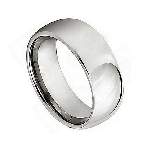 Titanium Polished Shiny Domed Ring 7mm