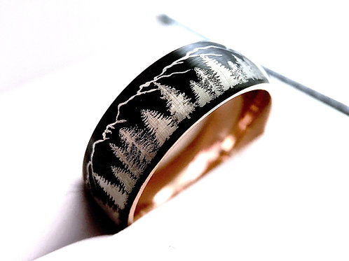 Black and Rose  Gold Domed Tungsten Carbide Ring, Fir Trees and Mountains Ring
