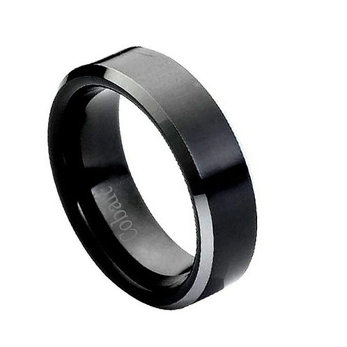 Black Enamel Cobalt Ring 8mm