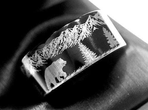 Elks, Bear in Mountains Forest  Pattern Engraved Black Tungsten Wedding Ring