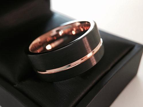 Flat Black Tungsten Bands, Mens Women Tungsten Ring 10mm-12mm