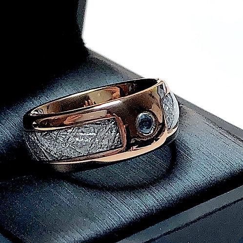 Blue Aquamarine Ring, Tungsten Wedding Ring, Meteorite Ring, Meteorite Inlay Ring, Men Meteorite Engagement Ring