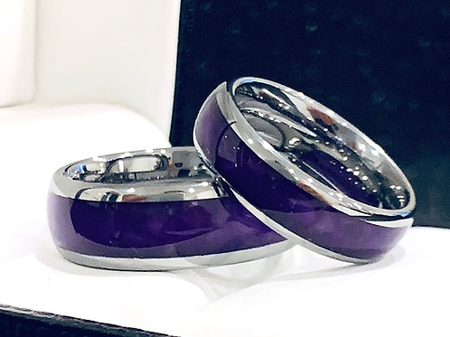 Purple Agate Inlay Tungsten Carbide  Ring, Mens Ring, Women Ring- 6mm, 8mm