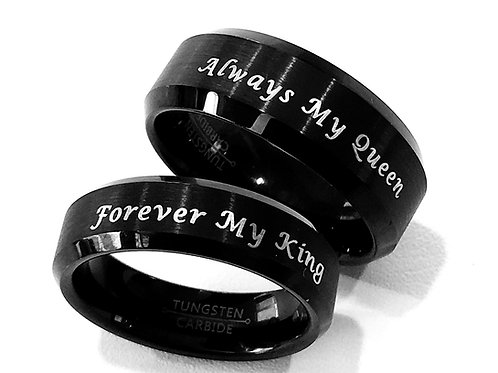 Tungsten Wedding Bands, Mens Women's Tungsten Ring, Black Tungsten Ring,  Promise Rings