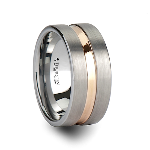 Pipe Tun Brushed Finish  Tungsten Ring -10mm