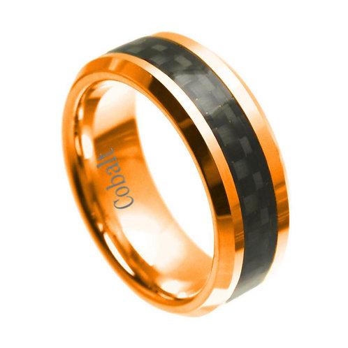 Black Cobalt Ring,  Black Carbon Fiber inlay 8mm