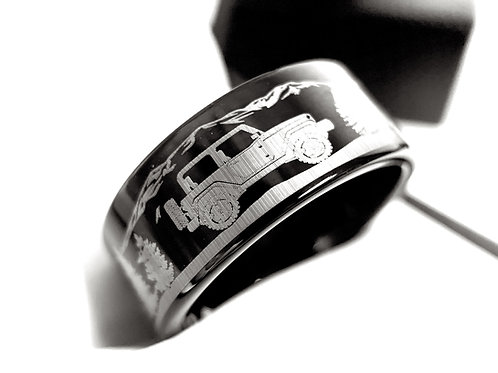 Men's Wedding Band, Mens Tungsten Ring, Custom Designed Wedding Bands, Jeep Car