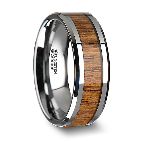 Tungsten Band, Teak Wood Inlay 6mm-8mm