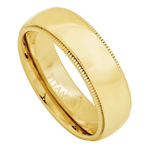 Domed Titanium Ring High Polished Gold Plated-3mm