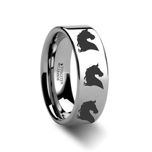 Animal Horse Print Ring, Tungsten Wedding Band