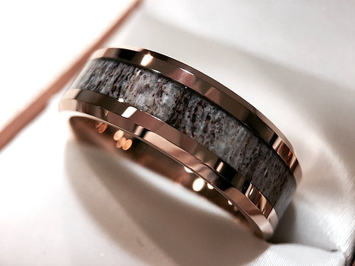 Rose Gold Real Deer Antler Ring, Antler Wedding Bands, Tungsten Rings 8mm