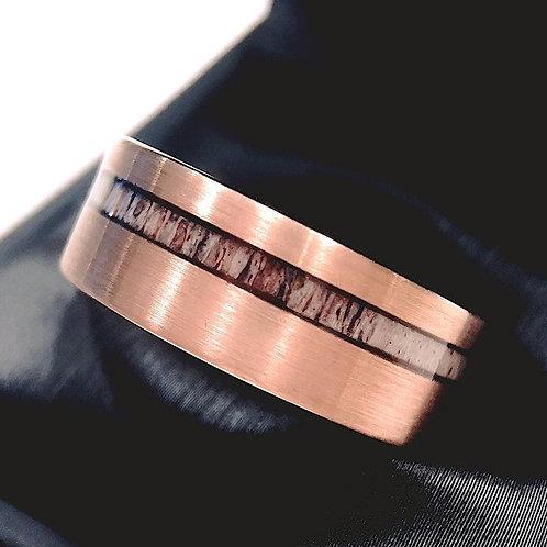 Matching Rings Set, Antler Ring Bride and Groom Rose Gold Tungsten Wedding Bands