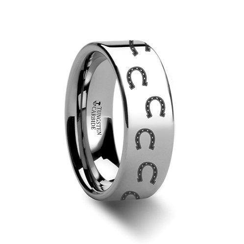 Animal Horse Shoe Print Ring Tungsten Wedding Band