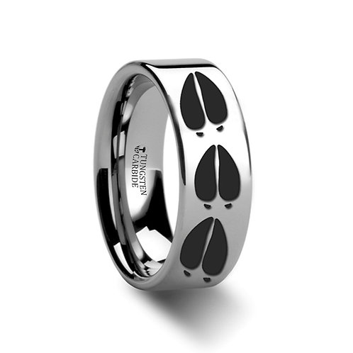 Animal Deer Track Print Ring, Tungsten Band