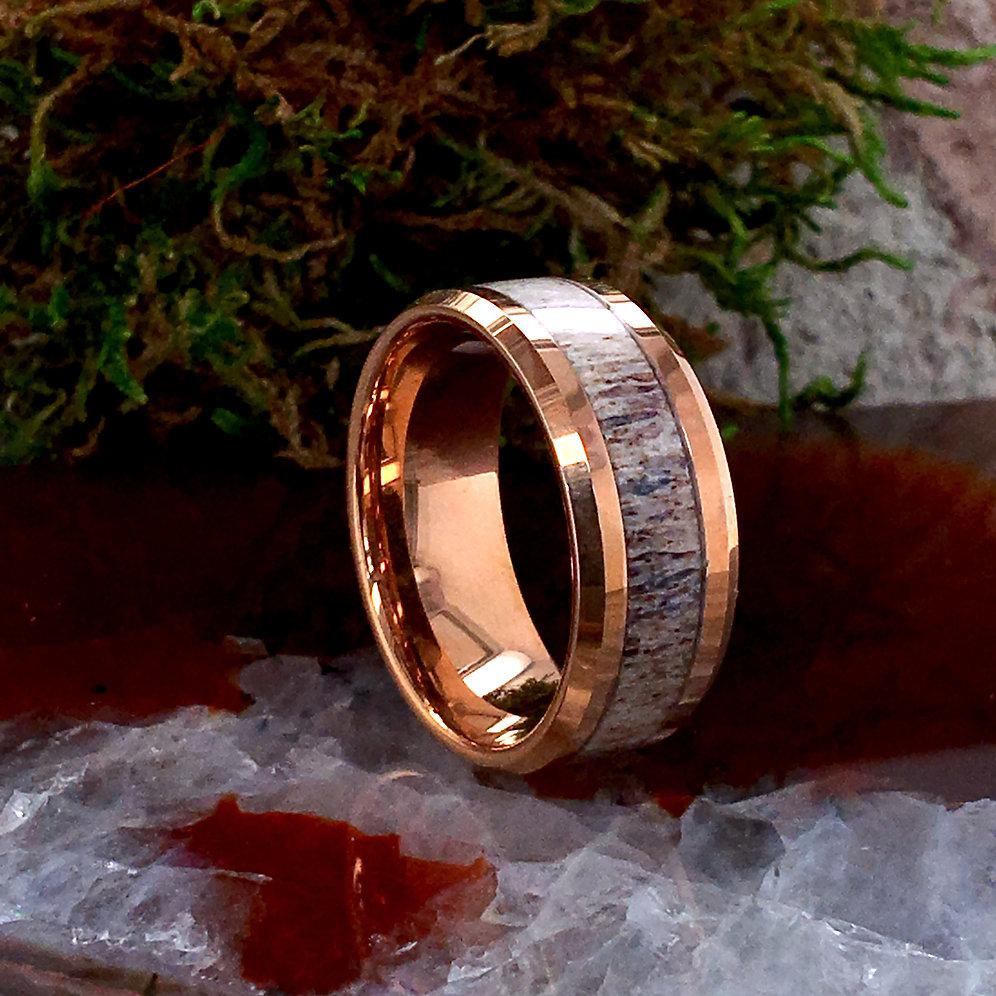 3bb3d40f340ea Matching Rings Set,Rose Gold Tungsten Carbide Ring, Real Deer Elk Antler  Ring