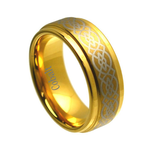 18K Yellow Gold  Plated Cobalt Ring 8mm