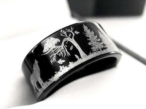 Black Tungsten Ring, Wolf and Owl Ring in Mountains Forest Engraved Tungsten Wedding Band, Men's Women's Tungsten Rings