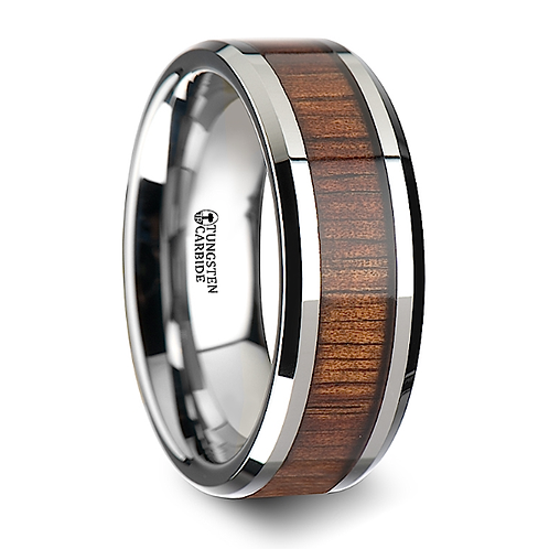 Tungsten Wedding Band, Koa Wood Inlay 6-8mm