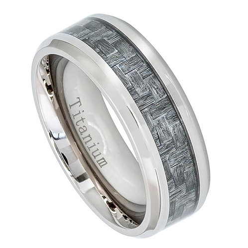 Titanium Ring with Charcoal Carbon Fiber Inlay 8mm