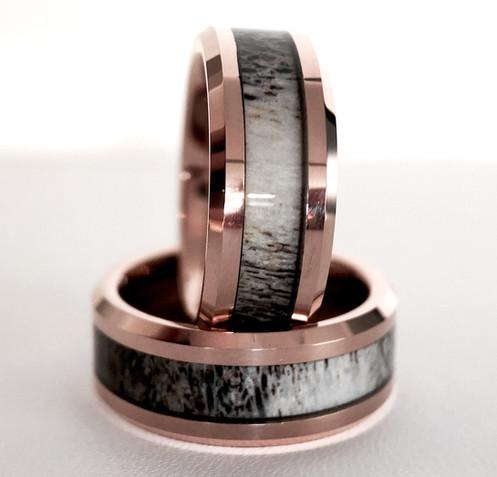 b657391b78 Real Antler Ring, Rose Gold Antler Tungsten Wedding Bands, Matching Rings  Set, Matching