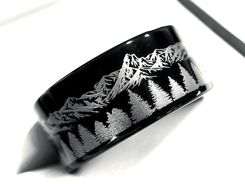 Black High Polished Tungsten Wedding Band, Fir Trees in Mountains Range Ring