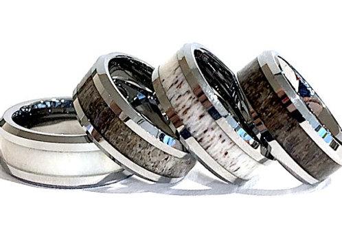 Mens Wedding Bands, Real Elk Antler Ring, Women Wedding Ring,  6mm 8mm
