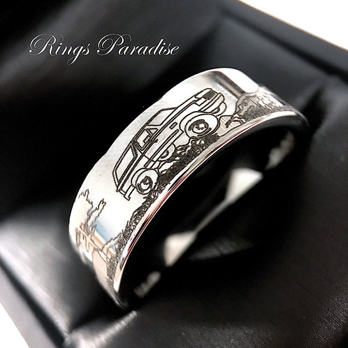 Mens Wedding Bands, Custom Made Rings, Mountain Landscape Car Ford Engraved Ring