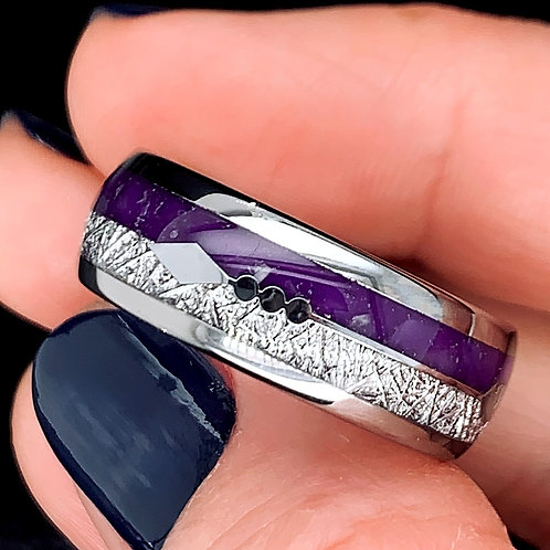 Purple Stone Meteorite Ring, Mens Purple Ring, His and Hers Promise Ring, Arrow