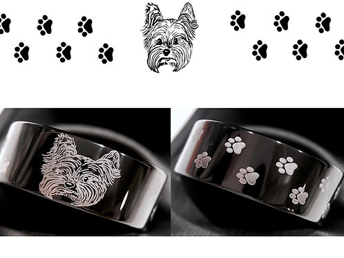 Dog Paw Ring, Dog Foot Ring, Yorkie Lovers, Custom Engraved Wedding Bands