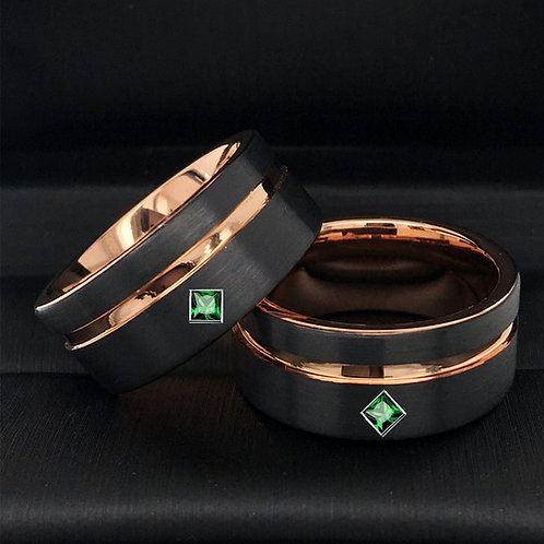 Square Emerald Stone Matching Rings Set, Wedding Bands, Black & Ros