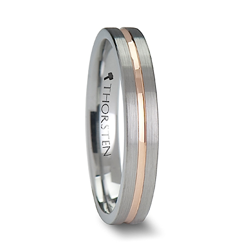 Pipe Tun Brushed Finish  Tungsten Ring -4mm