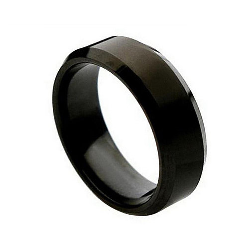 Black Enamel Plated Titanium Ring - 7mm