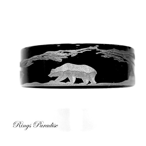 Two Bears Pattern Engraved Tungsten Ring, Mens Women Tungsten Wedding Rings