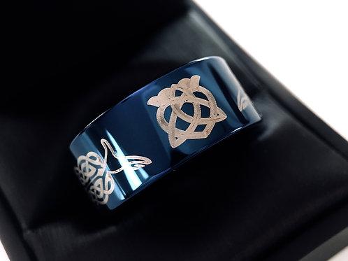 10mm Blue Tungsten Carbide Ring, Claddagh Ring, Celtic Ring , Mens Celtic Ring, Womne Celtic Wedding bands, unique Wedding