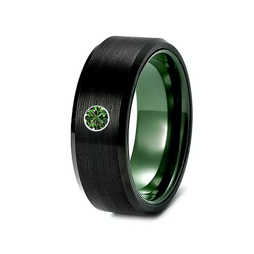 Tungsten Ring Man, Men Wedding Ring, Mens Engagement Ring, Emerald  Ring, Green Ring, Ceramic Ring , Mens Ring, Promise Ring